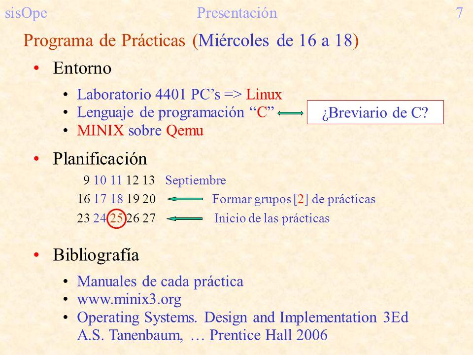 sisOpe Presentación7 Programa de Prácticas (Miércoles de 16 a 18) Entorno Laboratorio 4401 PCs => Linux Lenguaje de programación C MINIX sobre Qemu Pl