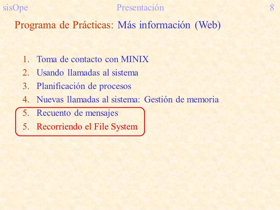 sisOpePresentación8 Programa de Prácticas: Más información (Web) 1.Toma de contacto con MINIX 2.Usando llamadas al sistema 3.Planificación de procesos