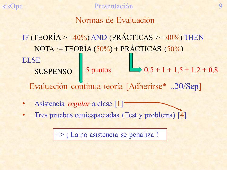 sisOpePresentación9 Normas de Evaluación IF (TEORÍA >= 40%) AND (PRÁCTICAS >= 40%) THEN NOTA := TEORÍA (50%) + PRÁCTICAS (50%) ELSE SUSPENSO Evaluació
