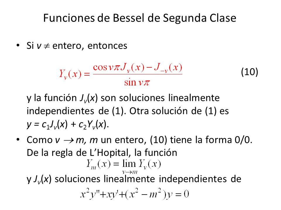 Funciones de Bessel de Segunda Clase Si v entero, entonces (10) y la función J v (x) son soluciones linealmente independientes de (1). Otra solución d