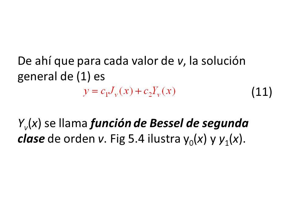 De ahí que para cada valor de v, la solución general de (1) es (11) Y v (x) se llama función de Bessel de segunda clase de orden v. Fig 5.4 ilustra y