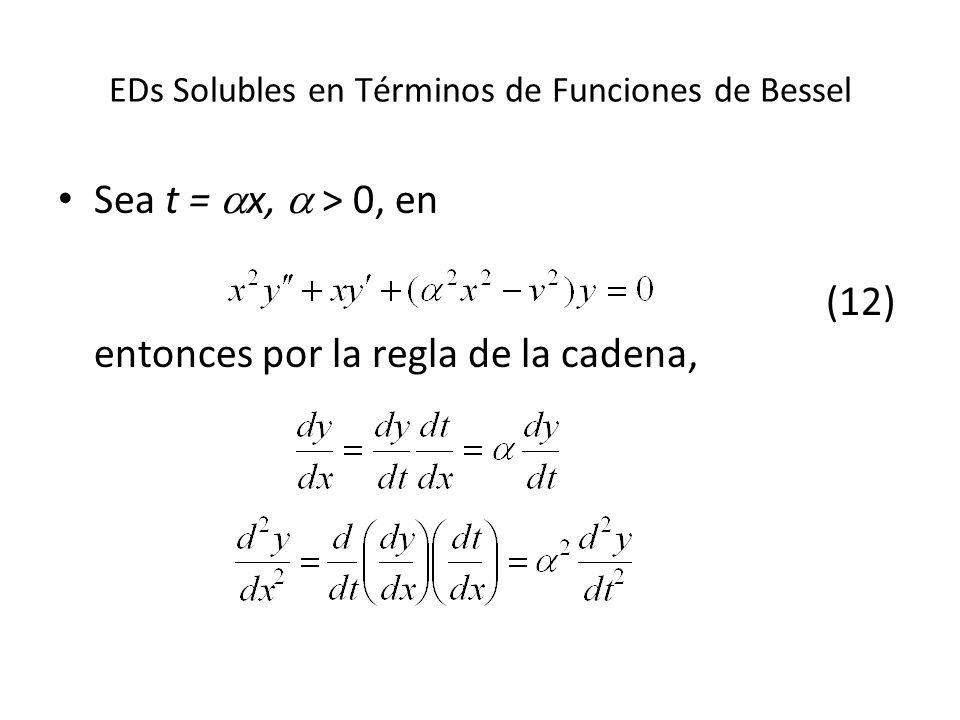 EDs Solubles en Términos de Funciones de Bessel Sea t = x, > 0, en (12) entonces por la regla de la cadena,