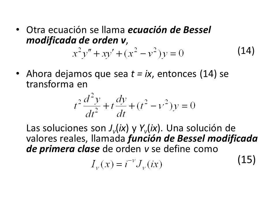 Otra ecuación se llama ecuación de Bessel modificada de orden v, (14) Ahora dejamos que sea t = ix, entonces (14) se transforma en Las soluciones son