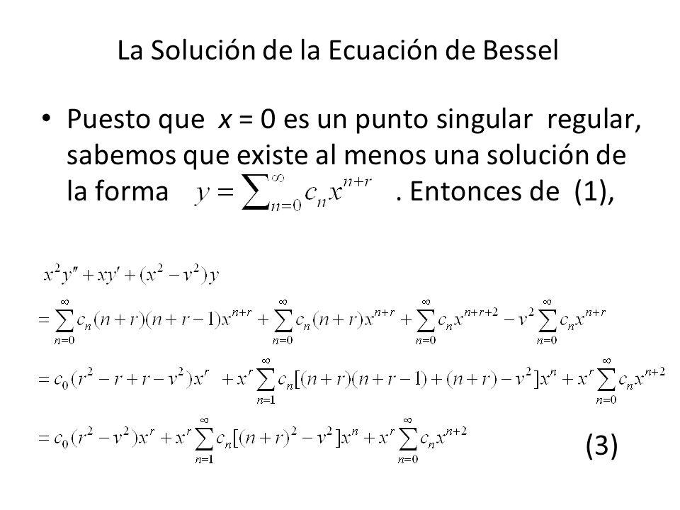 La Solución de la Ecuación de Bessel Puesto que x = 0 es un punto singular regular, sabemos que existe al menos una solución de la forma. Entonces de