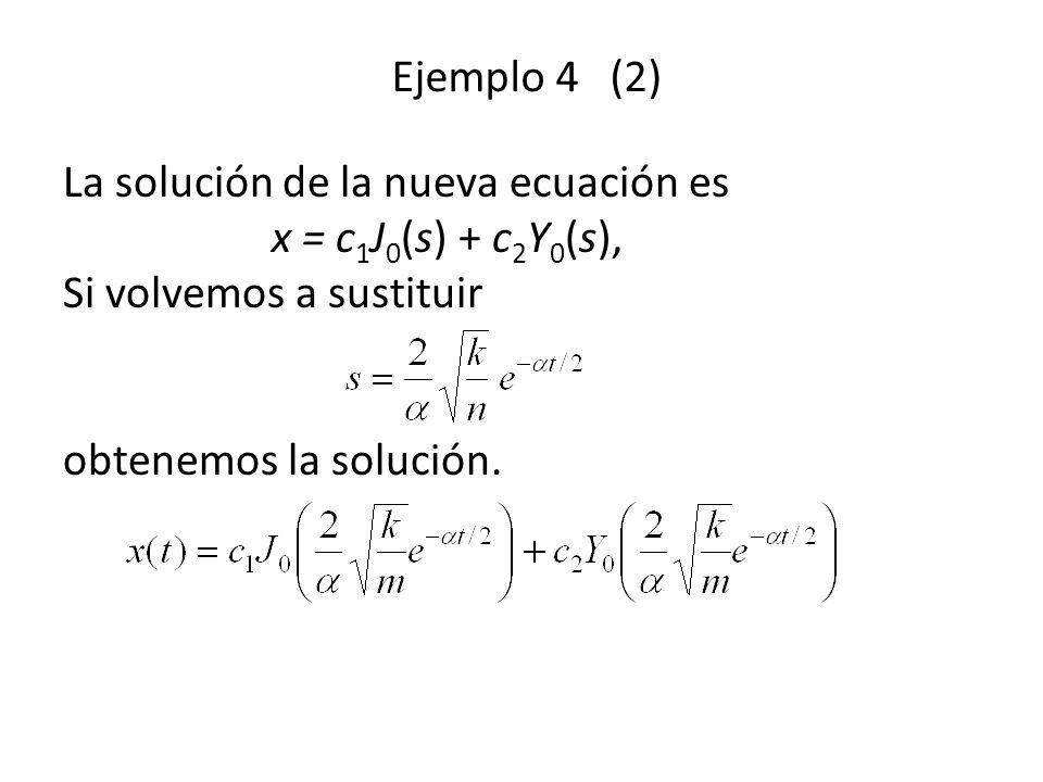 Ejemplo 4 (2) La solución de la nueva ecuación es x = c 1 J 0 (s) + c 2 Y 0 (s), Si volvemos a sustituir obtenemos la solución.