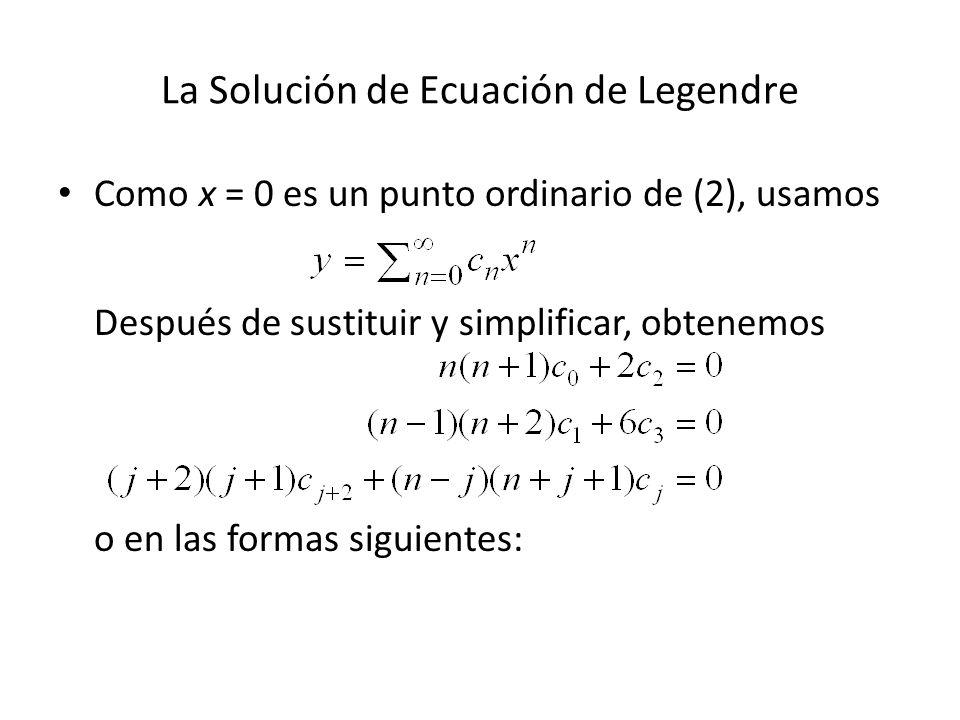 La Solución de Ecuación de Legendre Como x = 0 es un punto ordinario de (2), usamos Después de sustituir y simplificar, obtenemos o en las formas sigu