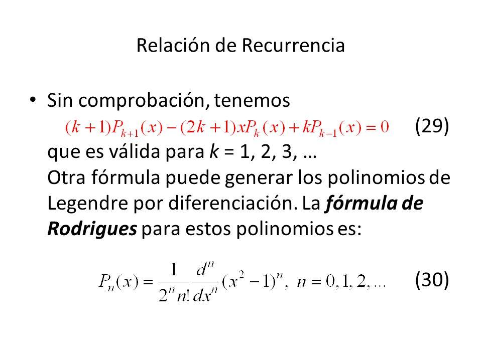Relación de Recurrencia Sin comprobación, tenemos (29) que es válida para k = 1, 2, 3, … Otra fórmula puede generar los polinomios de Legendre por dif