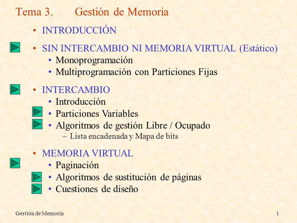 Gestión de Memoria1 Tema 3.Gestión de Memoria INTRODUCCIÓN SIN INTERCAMBIO NI MEMORIA VIRTUAL (Estático) Monoprogramación Multiprogramación con Particiones Fijas INTERCAMBIO Introducción Particiones Variables Algoritmos de gestión Libre / Ocupado –Lista encadenada y Mapa de bits MEMORIA VIRTUAL Paginación Algoritmos de sustitución de páginas Cuestiones de diseño