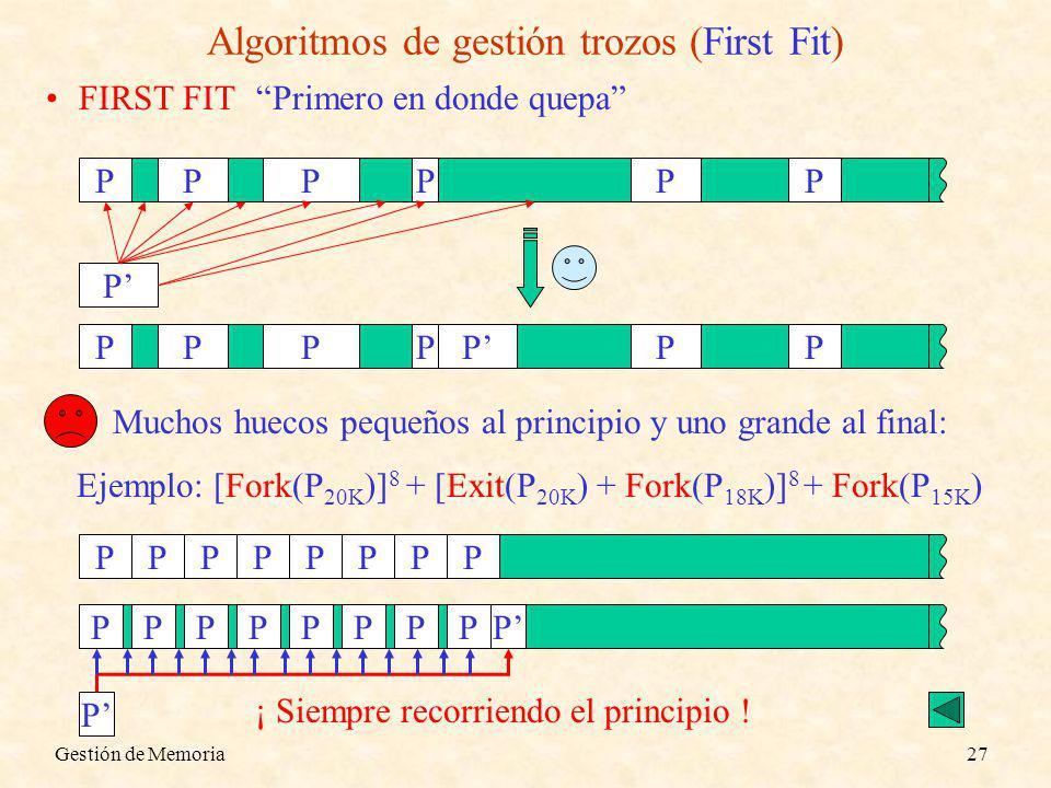 Gestión de Memoria27 Algoritmos de gestión trozos (First Fit) FIRST FITPrimero en donde quepa PPPPPP P PPPPPPP Muchos huecos pequeños al principio y u