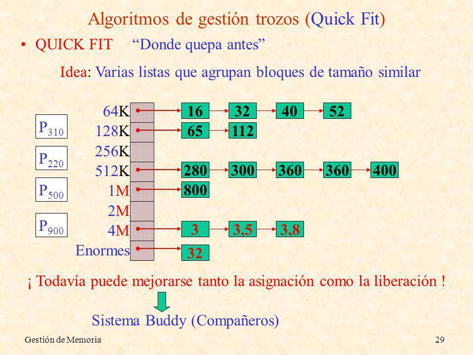 Gestión de Memoria29 Algoritmos de gestión trozos (Quick Fit) QUICK FIT Donde quepa antes Idea: Varias listas que agrupan bloques de tamaño similar 64K 128K 256K 512K 1M 2M 4M Enormes 16324052 65112 280300360 400 800 33,53,8 32 P 310 P 220 P 500 P 900 ¡ Todavía puede mejorarse tanto la asignación como la liberación .