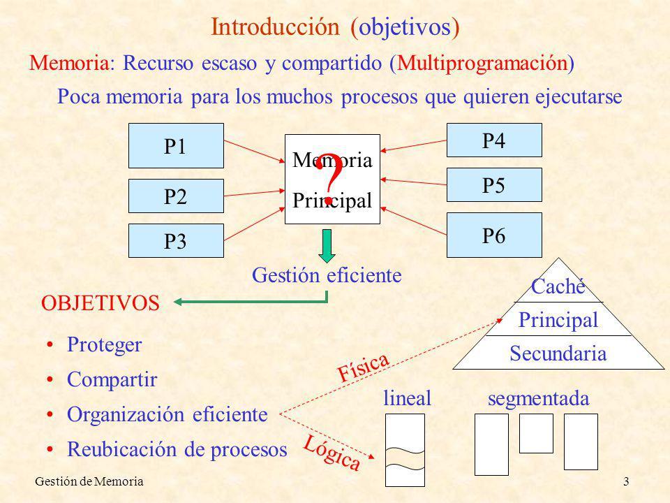 Gestión de Memoria3 Introducción (objetivos) Memoria: Recurso escaso y compartido (Multiprogramación) Poca memoria para los muchos procesos que quieren ejecutarse Proteger Compartir Organización eficiente Reubicación de procesos Memoria Principal P1 P2 P3 P6 P5 P4 OBJETIVOS Gestión eficiente Lógica Secundaria Principal Caché Física segmentadalineal ?