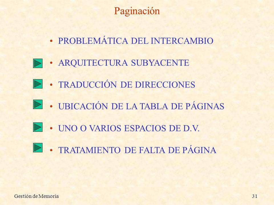 Gestión de Memoria31 Paginación PROBLEMÁTICA DEL INTERCAMBIO ARQUITECTURA SUBYACENTE TRADUCCIÓN DE DIRECCIONES UBICACIÓN DE LA TABLA DE PÁGINAS UNO O VARIOS ESPACIOS DE D.V.