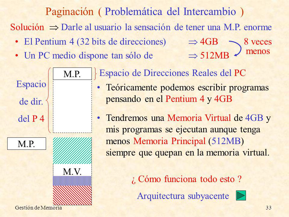 Gestión de Memoria33 M.P. Paginación ( Problemática del Intercambio ) Solución Darle al usuario la sensación de tener una M.P. enorme El Pentium 4 (32