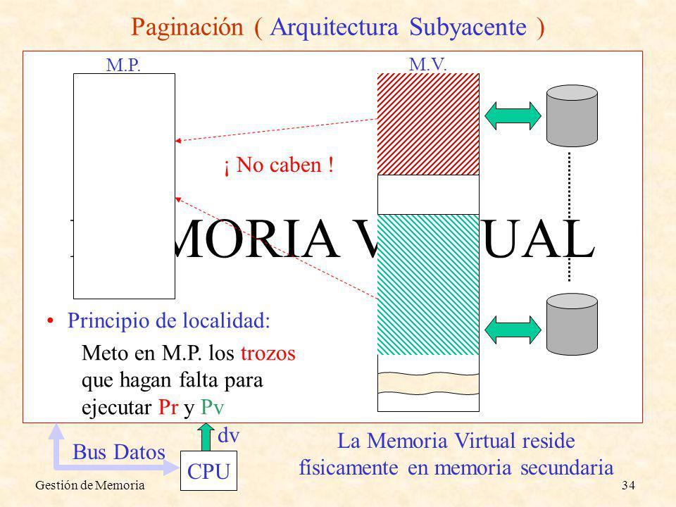 Gestión de Memoria34 MEMORIA VIRTUAL Paginación ( Arquitectura Subyacente ) CPU dv Bus Datos M.V. La Memoria Virtual reside físicamente en memoria sec