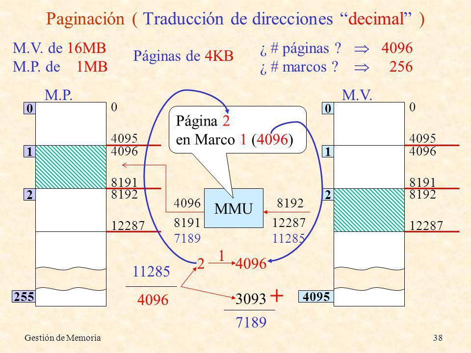 Gestión de Memoria38 Paginación ( Traducción de direcciones decimal ) ¿ # páginas ? ¿ # marcos ? 4096 256 M.V. de 16MB M.P. de 1MB Páginas de 4KB M.P.