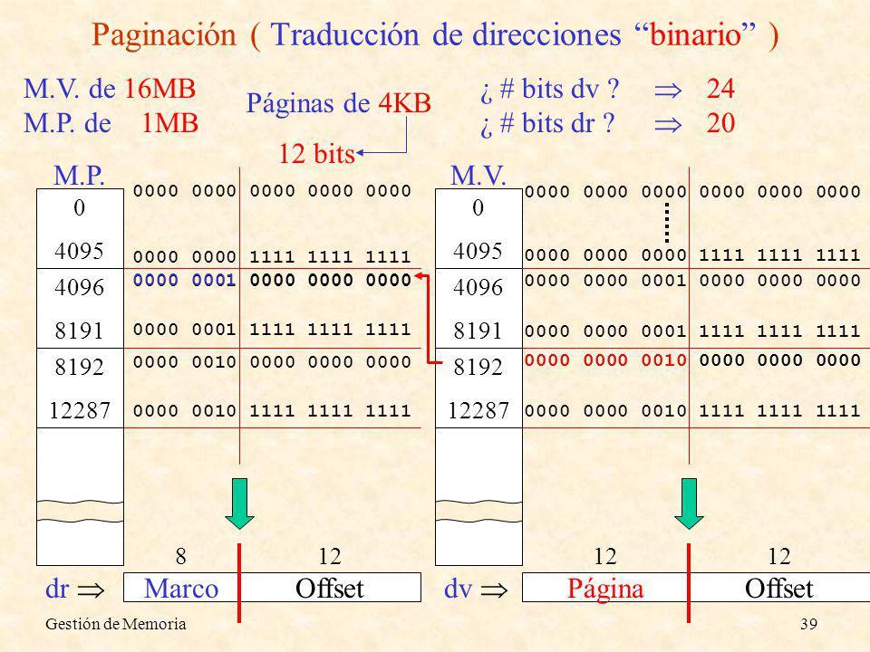 Gestión de Memoria39 Paginación ( Traducción de direcciones binario ) ¿ # bits dv ? ¿ # bits dr ? 24 20 M.V. de 16MB M.P. de 1MB Páginas de 4KB 0000 0