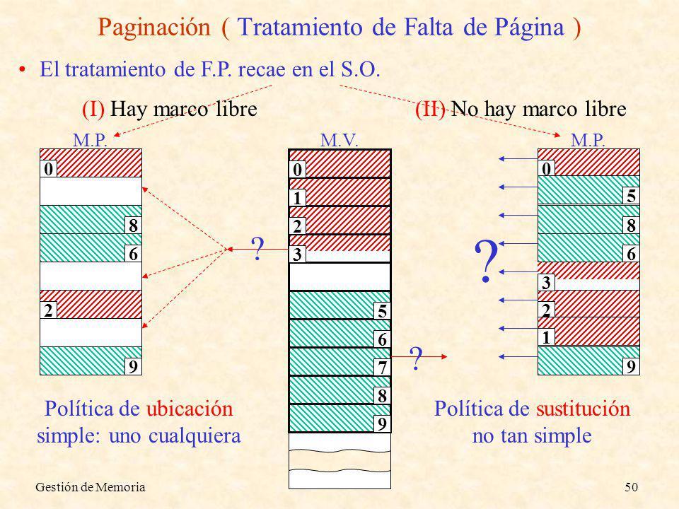 Gestión de Memoria50 Paginación ( Tratamiento de Falta de Página ) El tratamiento de F.P. recae en el S.O. M.P. 0 2 8 9 6 (I) Hay marco libre M.V. 0 1