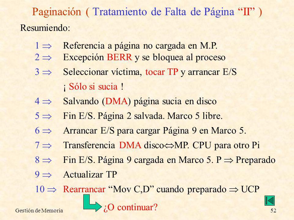 Gestión de Memoria52 Paginación ( Tratamiento de Falta de Página II ) Resumiendo: 1 Referencia a página no cargada en M.P. 2 Excepción BERR y se bloqu