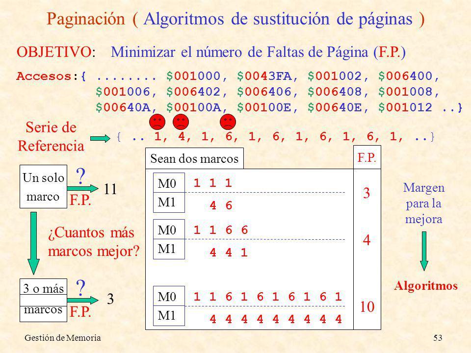Gestión de Memoria53 Paginación ( Algoritmos de sustitución de páginas ) OBJETIVO:Minimizar el número de Faltas de Página (F.P.) Accesos:{........