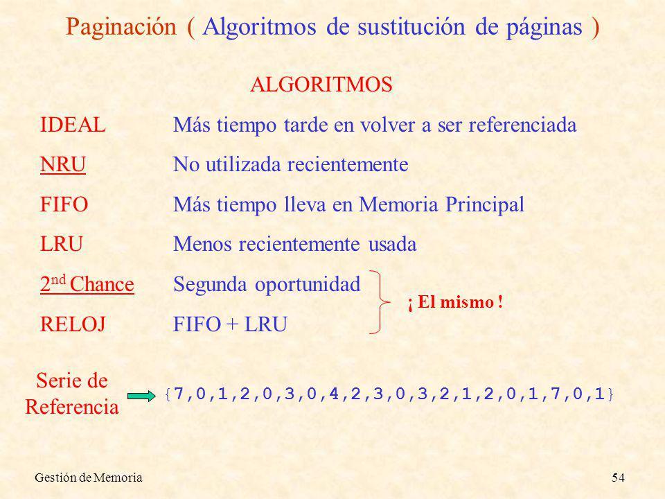Gestión de Memoria54 Paginación ( Algoritmos de sustitución de páginas ) {7,0,1,2,0,3,0,4,2,3,0,3,2,1,2,0,1,7,0,1} Serie de Referencia ALGORITMOS IDEALMás tiempo tarde en volver a ser referenciada NRUNo utilizada recientemente FIFOMás tiempo lleva en Memoria Principal LRUMenos recientemente usada 2 nd ChanceSegunda oportunidad RELOJFIFO + LRU ¡ El mismo !