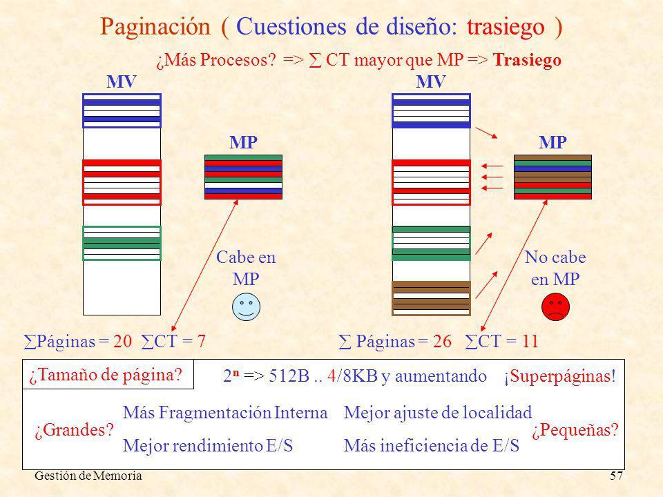 Gestión de Memoria57 Paginación ( Cuestiones de diseño: trasiego ) Páginas = 20 CT = 7 MV MP Cabe en MP ¿Más Procesos.
