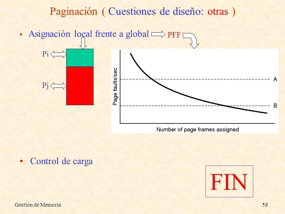 Gestión de Memoria58 Paginación ( Cuestiones de diseño: otras ) Asignación local frente a global Control de carga Pi Pj PFF FIN