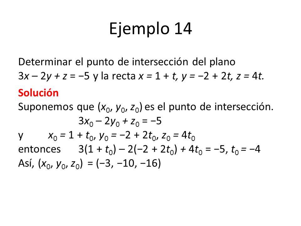 Ejemplo 14 Determinar el punto de intersección del plano 3x – 2y + z = 5 y la recta x = 1 + t, y = 2 + 2t, z = 4t. Solución Suponemos que (x 0, y 0, z