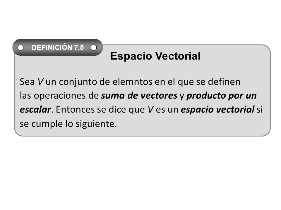 Sea V un conjunto de elemntos en el que se definen las operaciones de suma de vectores y producto por un escalar. Entonces se dice que V es un espacio