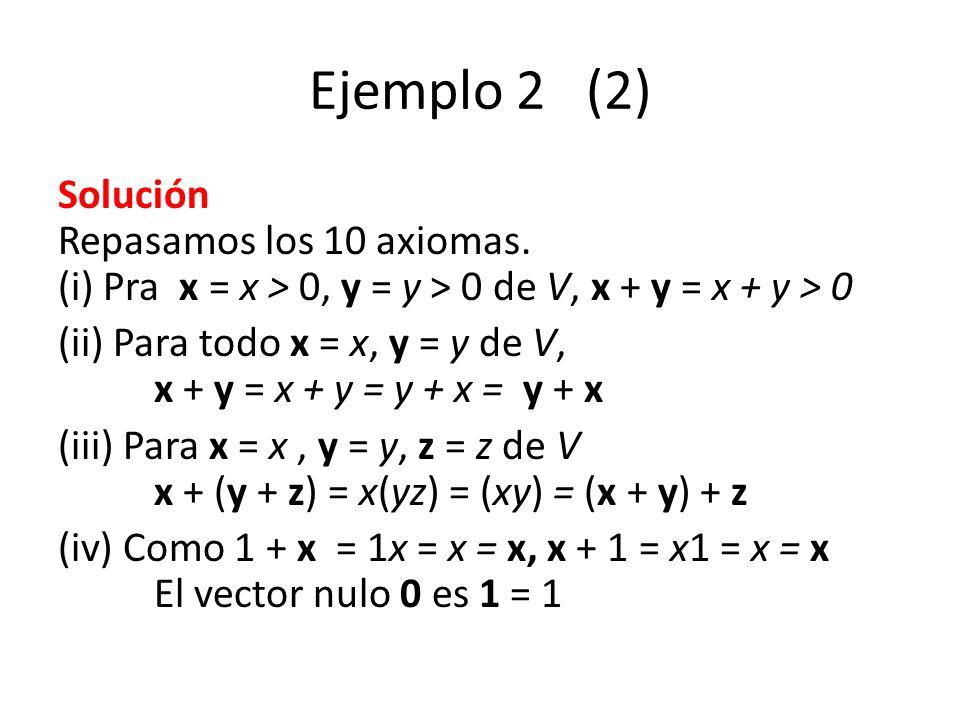 Ejemplo 2 (2) Solución Repasamos los 10 axiomas. (i) Pra x = x > 0, y = y > 0 de V, x + y = x + y > 0 (ii) Para todo x = x, y = y de V, x + y = x + y