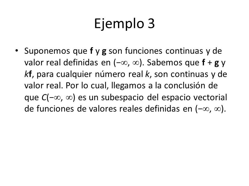 Ejemplo 3 Suponemos que f y g son funciones continuas y de valor real definidas en (, ). Sabemos que f + g y kf, para cualquier número real k, son con