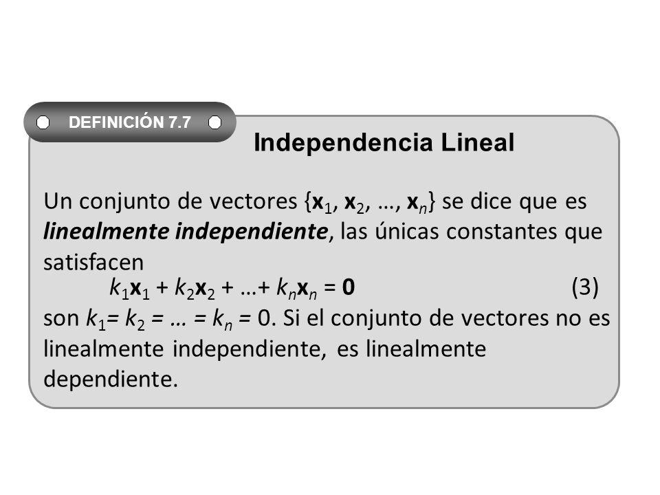 Un conjunto de vectores {x 1, x 2, …, x n } se dice que es linealmente independiente, las únicas constantes que satisfacen k 1 x 1 + k 2 x 2 + …+ k n