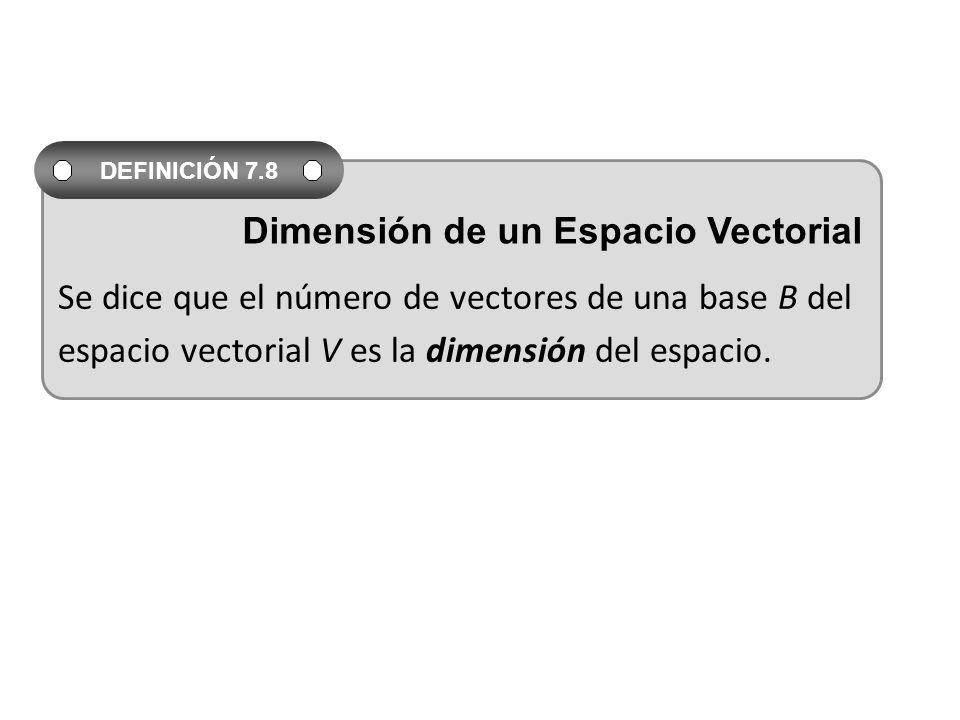 Se dice que el número de vectores de una base B del espacio vectorial V es la dimensión del espacio. DEFINICIÓN 7.8 Dimensión de un Espacio Vectorial