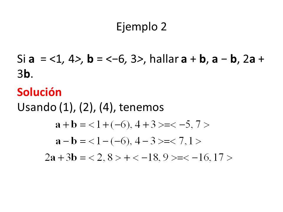 Ejemplo 2 Si a =, b =, hallar a + b, a b, 2a + 3b. Solución Usando (1), (2), (4), tenemos