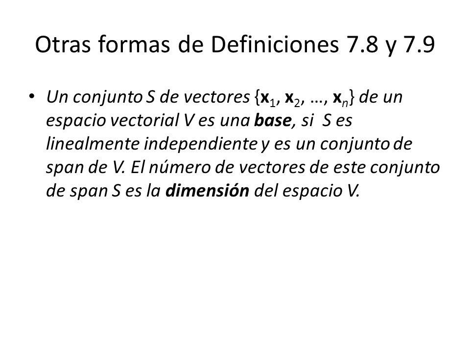 Otras formas de Definiciones 7.8 y 7.9 Un conjunto S de vectores {x 1, x 2, …, x n } de un espacio vectorial V es una base, si S es linealmente indepe