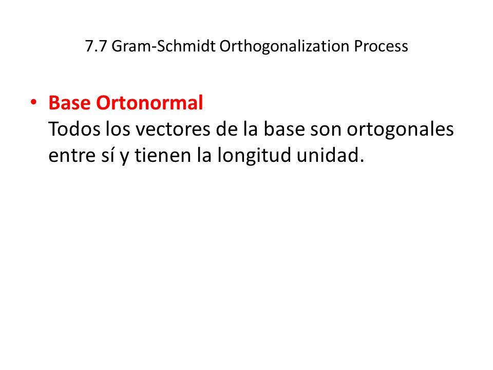 7.7 Gram-Schmidt Orthogonalization Process Base Ortonormal Todos los vectores de la base son ortogonales entre sí y tienen la longitud unidad.