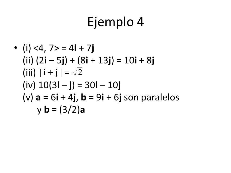 Ejemplo 4 (i) = 4i + 7j (ii) (2i – 5j) + (8i + 13j) = 10i + 8j (iii) (iv) 10(3i – j) = 30i – 10j (v) a = 6i + 4j, b = 9i + 6j son paralelos y b = (3/2