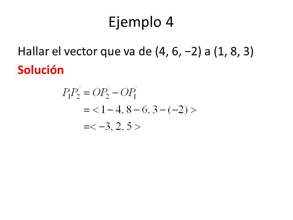 Ejemplo 4 Hallar el vector que va de (4, 6, 2) a (1, 8, 3) Solución