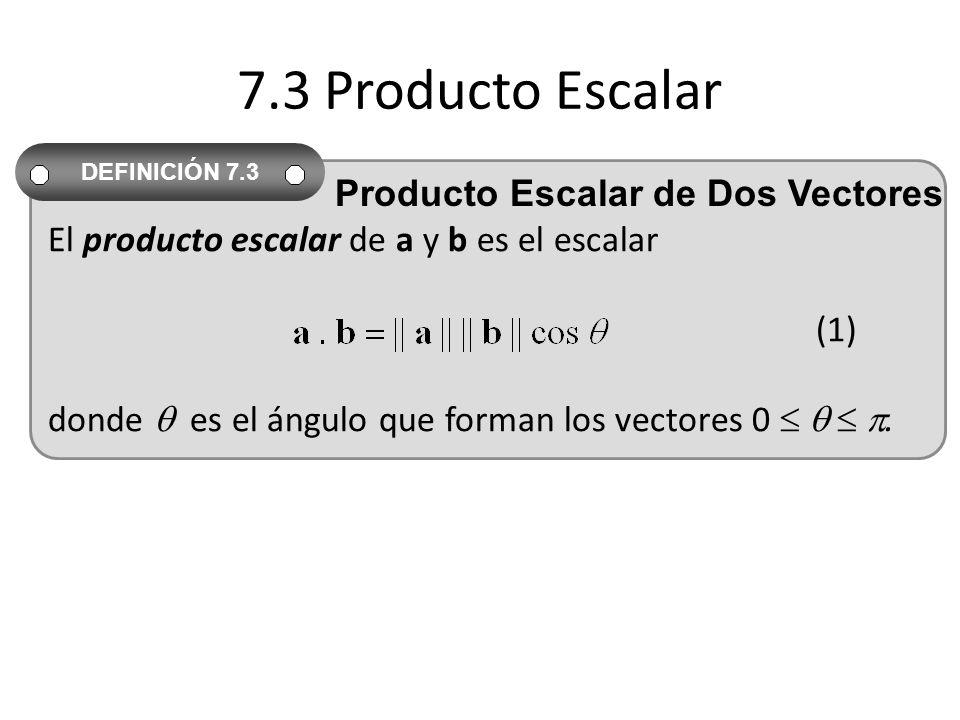 7.3 Producto Escalar El producto escalar de a y b es el escalar (1) donde es el ángulo que forman los vectores 0. DEFINICIÓN 7.3 Producto Escalar de D