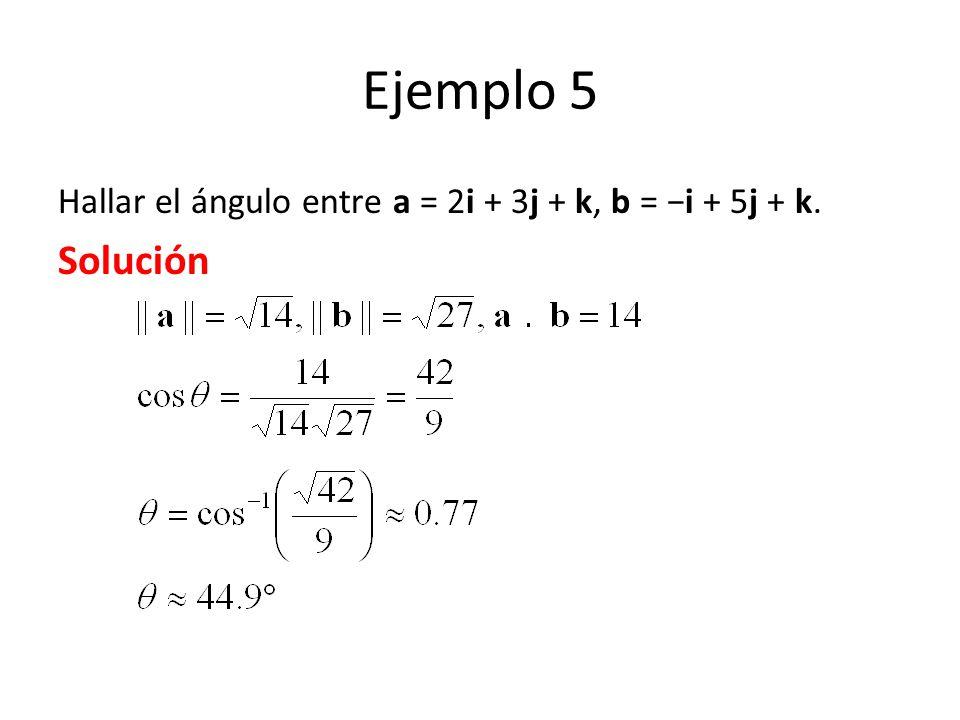 Ejemplo 5 Hallar el ángulo entre a = 2i + 3j + k, b = i + 5j + k. Solución