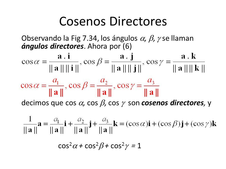 Cosenos Directores Observando la Fig 7.34, los ángulos,, se llaman ángulos directores. Ahora por (6) decimos que cos, cos, cos son cosenos directores,