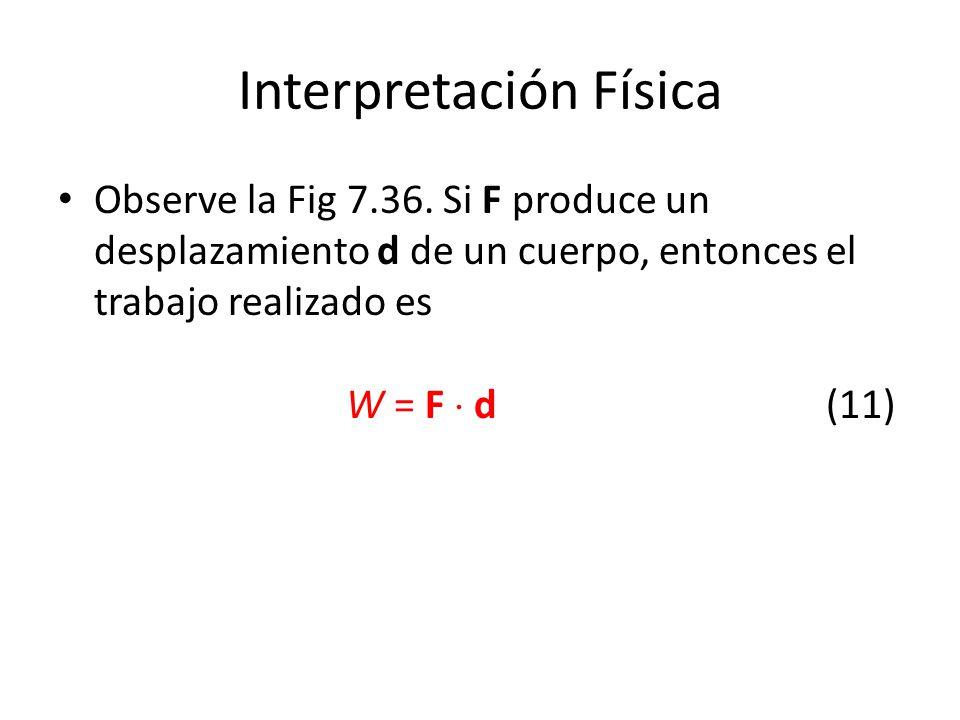 Interpretación Física Observe la Fig 7.36. Si F produce un desplazamiento d de un cuerpo, entonces el trabajo realizado es W = F d(11)