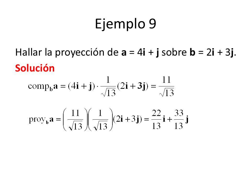 Ejemplo 9 Hallar la proyección de a = 4i + j sobre b = 2i + 3j. Solución