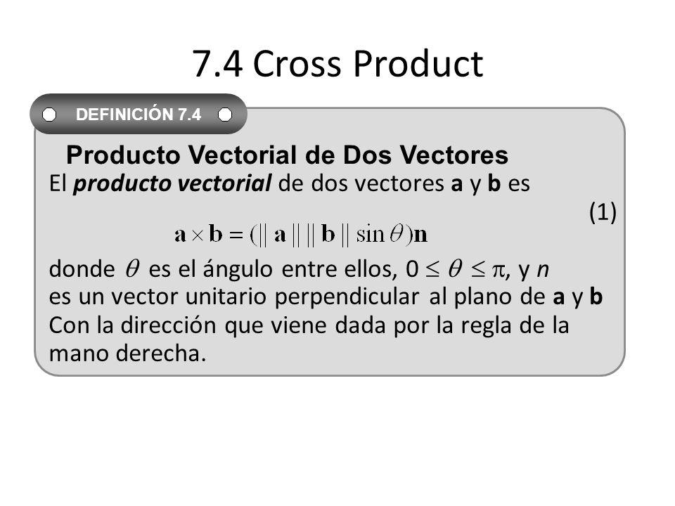 7.4 Cross Product El producto vectorial de dos vectores a y b es (1) donde es el ángulo entre ellos, 0, y n es un vector unitario perpendicular al pla