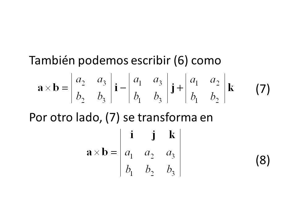 También podemos escribir (6) como (7) Por otro lado, (7) se transforma en (8)