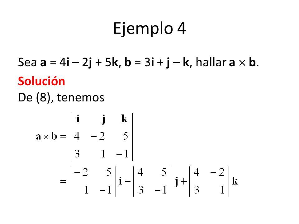 Ejemplo 4 Sea a = 4i – 2j + 5k, b = 3i + j – k, hallar a b. Solución De (8), tenemos