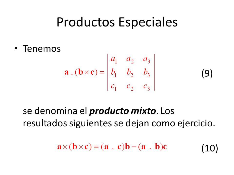 Productos Especiales Tenemos (9) se denomina el producto mixto. Los resultados siguientes se dejan como ejercicio. (10)