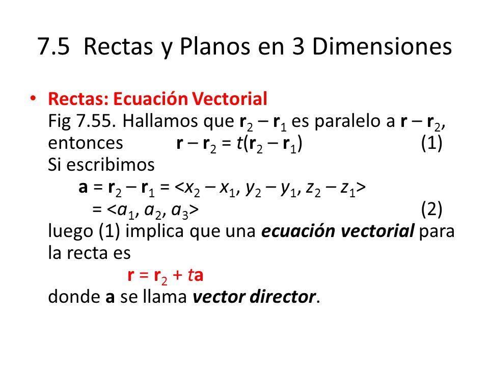 7.5 Rectas y Planos en 3 Dimensiones Rectas: Ecuación Vectorial Fig 7.55. Hallamos que r 2 – r 1 es paralelo a r – r 2, entonces r – r 2 = t(r 2 – r 1