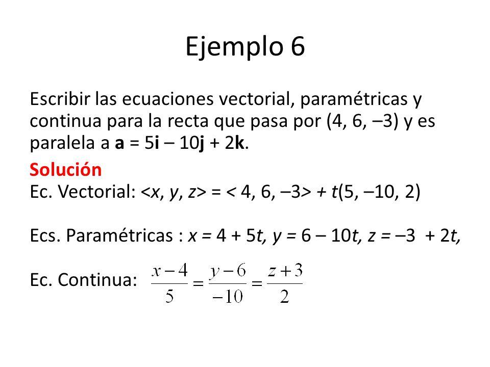 Ejemplo 6 Escribir las ecuaciones vectorial, paramétricas y continua para la recta que pasa por (4, 6, –3) y es paralela a a = 5i – 10j + 2k. Solución