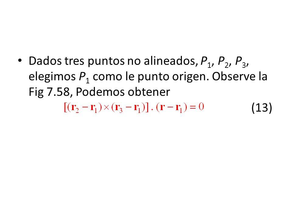 Dados tres puntos no alineados, P 1, P 2, P 3, elegimos P 1 como le punto origen. Observe la Fig 7.58, Podemos obtener (13)