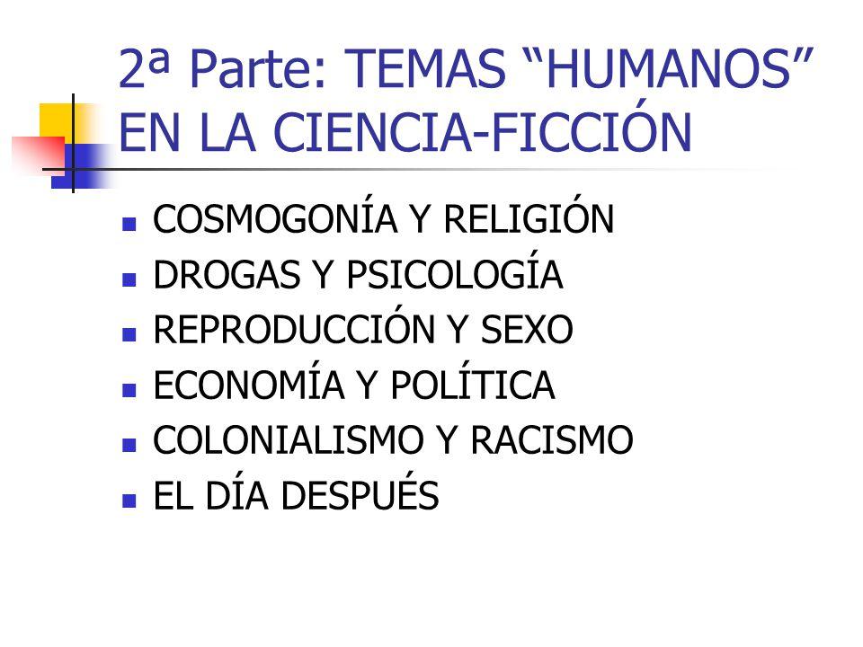 2ª Parte: TEMAS HUMANOS EN LA CIENCIA-FICCIÓN COSMOGONÍA Y RELIGIÓN DROGAS Y PSICOLOGÍA REPRODUCCIÓN Y SEXO ECONOMÍA Y POLÍTICA COLONIALISMO Y RACISMO EL DÍA DESPUÉS